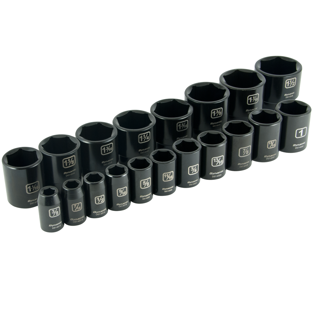 19 Pieces 6 Point Standard SAE Impact Socket Set